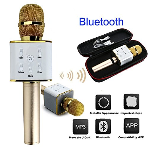 MM GOLD New Portable Multi-function Wireless / Bluetooth Karaoke Microphone . Handheld Condenser Microphone With...