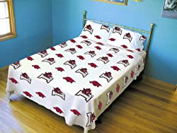 Arkansas Printed Sheet Set Full -White - Arkansas Razorbacks