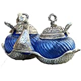 Crafticia Craft Traditional Handicraft Metal Double Duck Bowl - Silver And Glass Decorative Platter In Sky Blue...