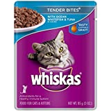 Whiskas Tender Bites Ocean Whitefish & Tuna Dinner In Juices Food For Cats, 3-Ounce Pouches (Pack Of 24)