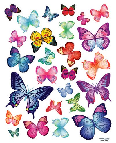 Easy Instant Decoration Wall Sticker Decal - Vivid Colorful Butterflies