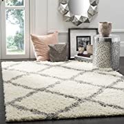 Safavieh Dallas Shag Collection SGD257F Ivory and Grey Area Rug (51 x 76)