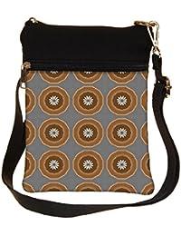 Snoogg Abstract Brown Circles Cross Body Tote Bag / Shoulder Sling Carry Bag