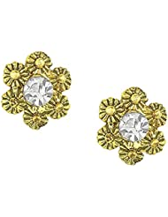 Shining Jewel Antique Gold Plated Brass & Crystal Studs (SJ_53)