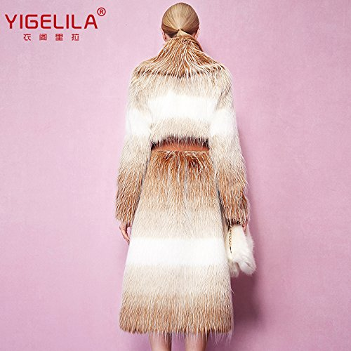 Fashion Women Long Gradient Color Fox Fur Coat Long Sleeve 2