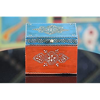 Wooden Hand Painted Decorative Box in Blue and Orange