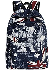 Tina Women's Vintage Union Jack Style Printed Canvas School Backpack Blue-Red