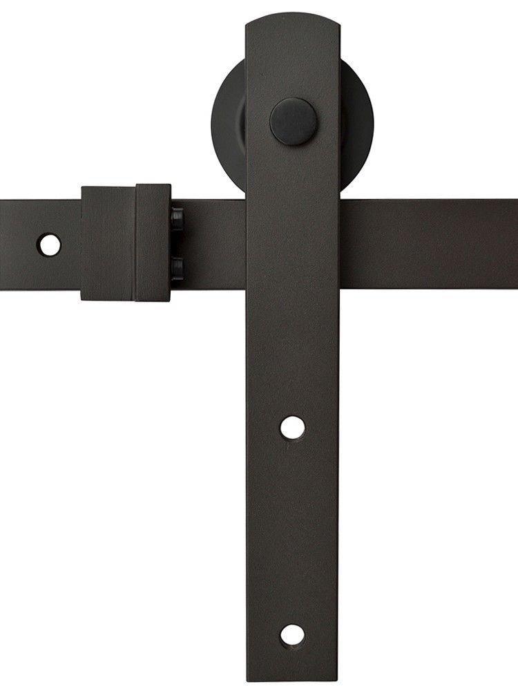 TMS TSQ04-ORB(2SET)+CONN-ORB Country Style Barn Wood Steel Double Sliding Door Hardware Set, 12, Dark Coffee