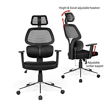 Ergonomic Mesh Office Chair High Back Swiver Computer Desk Task Chairs with Adjustable Lumbar Support, Backrest, Headrest, Armrest and Seat Height for Home Office Conference Room ¡­