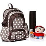Colorland Large Capacity Multifunctional Backpack Diaper Bag Khaki With Dots