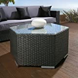 Luxury Outdoor Garden Hexagonal Coffee Table Black Rattan Glass top 06