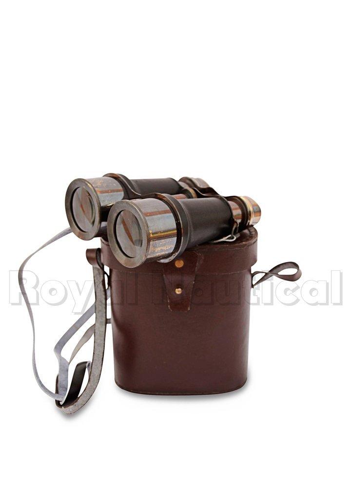 Antique Black Binocular VINTAGE Nautical Marine Spyglass Brass Binocular/Telescope with Leather case ANTIQUES 4