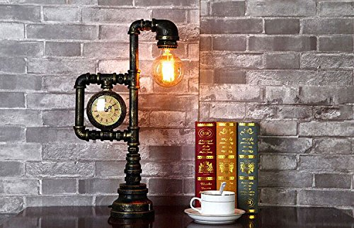Injuicy Lighting Vintage Industrial Water Pipe Table Light Edison Desk Accent Lamp With Clock Bar 3