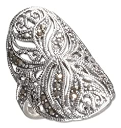 Sterling Silver Large Floral Filigree Marcasite Ring (size 09)
