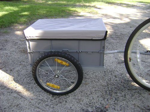 Cargo Bicycle Trailer Gray with Removable Plastic Bin