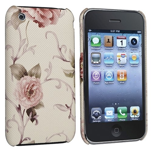 eForCity Snap-on Case compatible with Apple® iPhone® 3G / 3GS, Embroidered White / Pink Flower Rear
