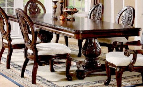 Double Pedestal Dining Table with Extension Leaf Cherry Finish