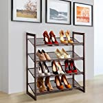LANGRIA 4-Tier Metal Shoe Rack Utility Shoe Tower Shoe Organizer Shelf for Closet Bedroom & Entryway Bronze