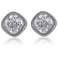 Sterling Silver Cushion Cut Cubic Zirconia CZ Solitaire Stud Earrings