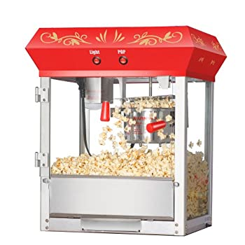 Great Northern Popcorn Red 6 oz. Ounce Foundation Vintage Style Popcorn Machine and Cart