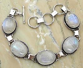 1150Gms780 Ctw Genuine Moonstone 925 Sterling Silver Overlay Handmade Fashion Bracelet Jewelry