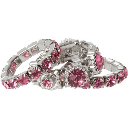 October Birthstone Pink Crystal Stacking Stretch Ring Trio