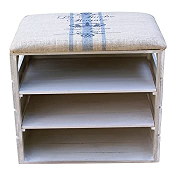 LIZA LINE SHOE RACK (Vintage White) - Premium Wooden Shoes Organizer, Storage, Cabinet, Holder Bench with Soft Seat Cushion for Entryway, Hallway. Solid Nordic Wood. 17 x 20 x 21 inch (Blue Stripes)