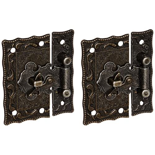2 Pcs Antique Style Hardware Bronze Tone Metal Rectangle Latch 42mm x 51mm