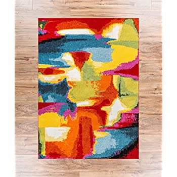 "Blooms Multi Abstract Painting Red Orange Yellow Green Modern Brush Stroke Area Rug 8x10 ( 7'10"" x 9'10"" ) Easy Clean Stain Fade Resistant Shed Free Bright Contemporary Geometric Art Thick Soft Plush"