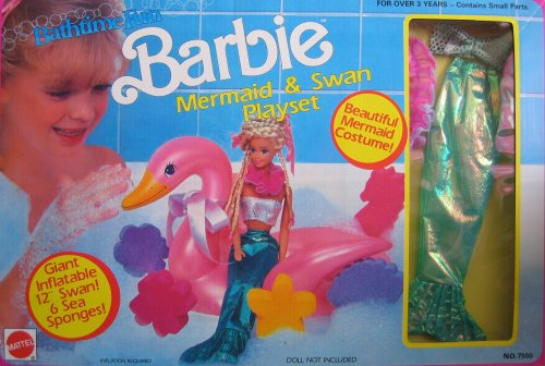 Bathtime Fun BARBIE Mermaid & Swan Playset w Mermaid Costume (1990 Arco Toys, Mattel)