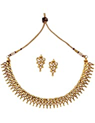 The Jewelbox Dainty Traditional Temple Gold Plated Pearl Necklace Earring Set