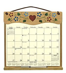 wooden refillable wall calendar holder filled with a 2016 calendar and an order. Black Bedroom Furniture Sets. Home Design Ideas