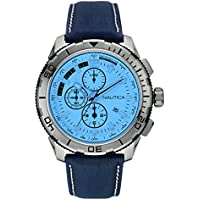 Nautica Mens Leather Chronograph Watch