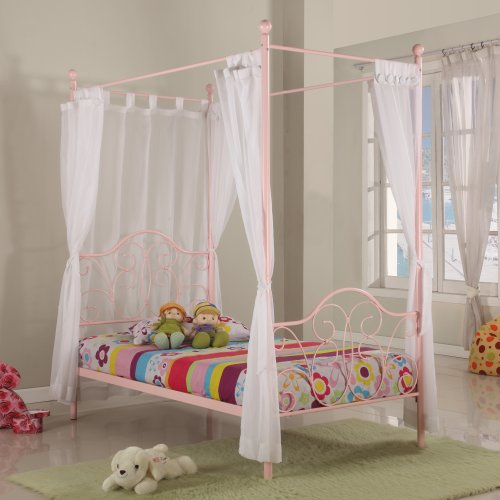 Metal Twin Canopy Bed In Pink Finish Little Girl39s Need This Bed Canopy Bed
