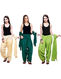 Fashion Store Combo Of Womens Solid Cotton Beige Dark Green And Parrot Green Best Ethnic Comfort Punjabi Patiala...