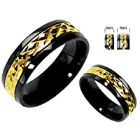 Titanium Ring with Gold Overlay Center Unisex Wedding Band in Sizes 5 to 14