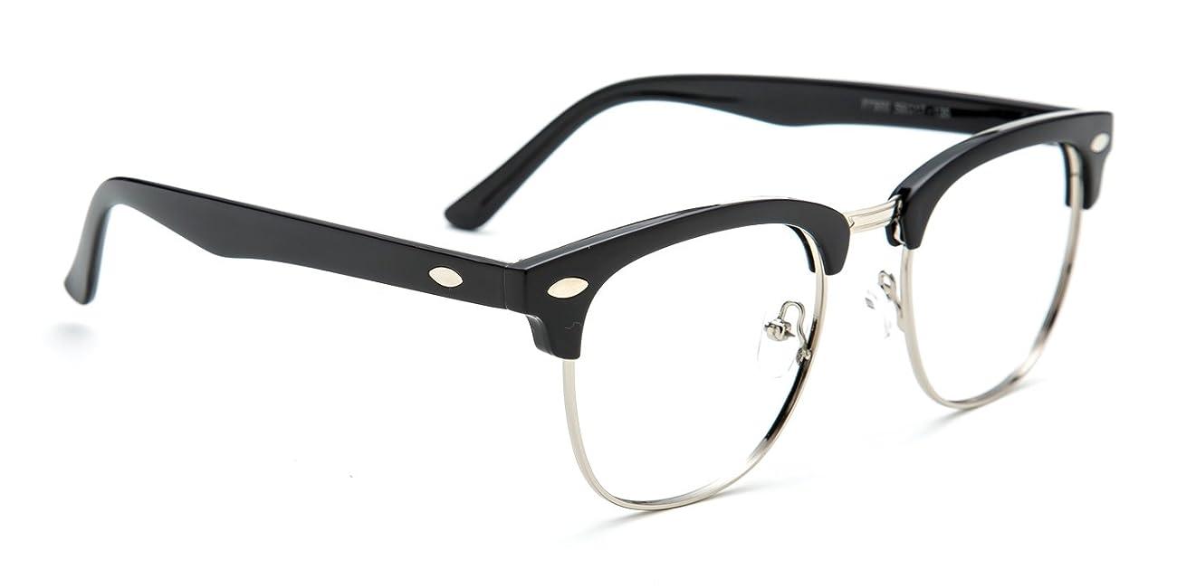 TIJN® Men's Classic Inspired Half Frame Nerd Horn Rimmed Clear Lens Glasses 0