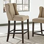 Moriany Light Beige Upholstered Nailhead Tall Barstools, Set of 2