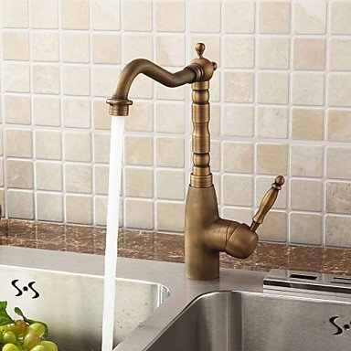 ELEOPTION® Retro Styling Antique Brass Kitchen Tap Faucet 360 Degree Swivel Basin Mixer Basin Valve Tap Bathroom Kitchen Fittings with Hot and Cold Controller (200353) 4