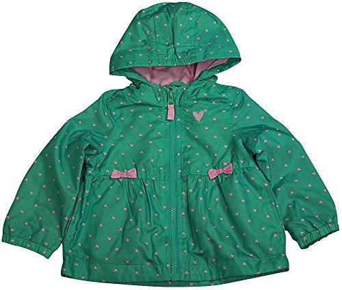 Carter's - Baby Girls' Hooded Hearts and Bows Rain Jacket, Green 38765-9-12Months