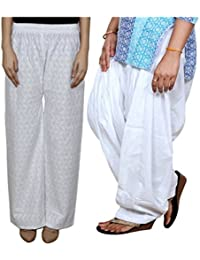 IndiWeaves Women Full Cotton Chikan White Palazzo With Cotton White Full Patiala Salwar - Free Size (Pack Of 1 Palazzo With 1 Patiala Salwar)