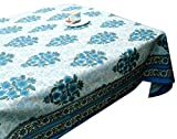 LinenTablecloth 60 x 86-Inch Rectangular Cotton Tablecloth -Blue Green Table cloth 6 Seater- Thanksgiving Wedding Dining Room Rectangle Party Tablecloths for Rectangle Tables