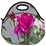 Snoogg Dark Pink Rose Flower Travel Outdoor Carry Lunch Bag Picnic Tote Box Container Zip Out Removable Carry...