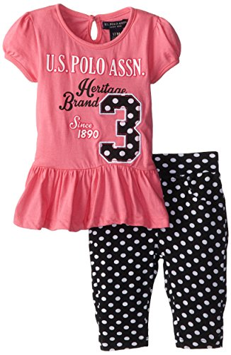 U.S. Polo Assn. Baby Girls' Bubble Sleeve Peplum Top and Print Capri Leggings, Bubble Gum, 12 Months