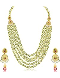 Sukkhi Wavy Five Strings Gold Plated Kundan Necklace Set For Women