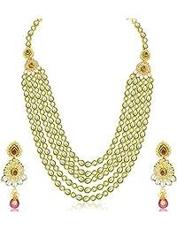 Sukkhi Wavy Five Strings Gold Plated Kundan Necklace Set For Women