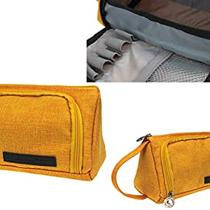 Samaz Pen Bag Pencil Case Large Capacity Canvas Pencil Bag Pouch Stationary Case Makeup Cosmetic Bag (Yellow)