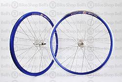 Weinmann DP18 Deep V Track Wheels ANO BLUE Fixed Gear Machined Front