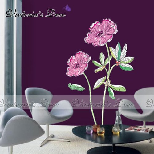 Home Decor Mural Art Wall Paper Stickers -Fantasy Purple Flowers ECO-015