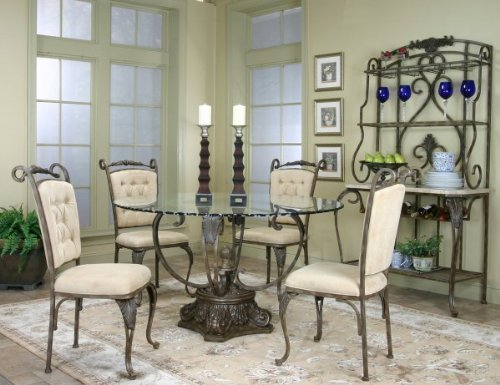 """Angelina Five Piece Glass Table Dining Set with Bakers Rack (Antique Bronze) (54""""W x 30""""H x 54""""D)"""